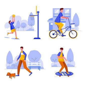 Ilustración plana de personas que realizan actividades al aire libre.