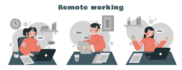 Ilustración plana de personas que trabajan de forma remota.