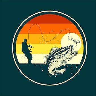 Ilustración plana de pesca