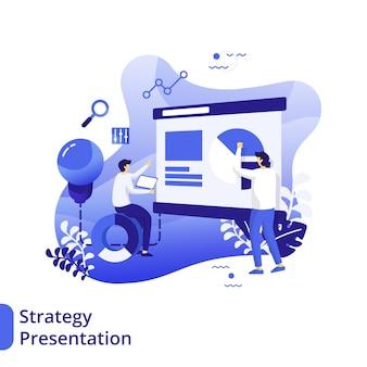 Ilustración plana de presentación de estrategia, el concepto de hombres está discutiendo frente al tablero