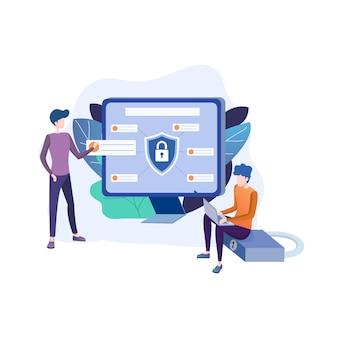 Ilustración plana de protección de datos