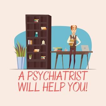 Ilustración plana psicólogo