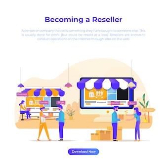 Ilustración plana que se convierte en un revendedor para comercio electrónico o tienda en línea.