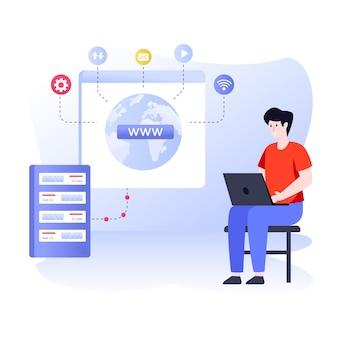 Ilustración plana que demuestra el navegador web en estilo moderno