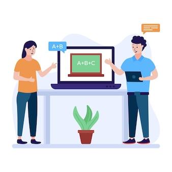 Ilustración plana que retrata el concepto de aula virtual