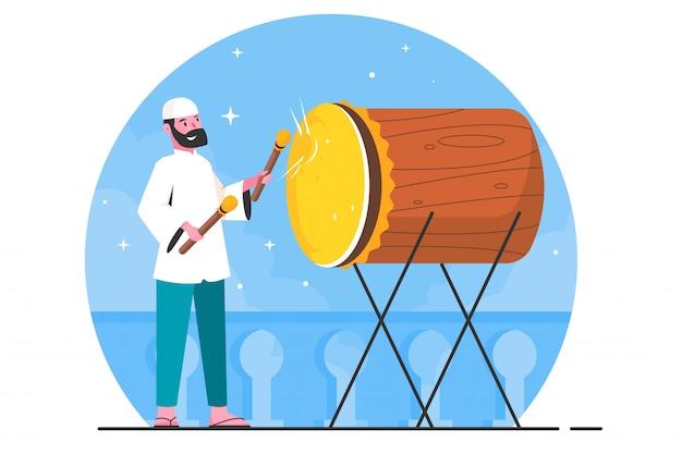Ilustración plana ramadhan hombre tocando el tambor