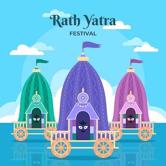 Ilustración plana rath yatra