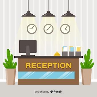 Ilustración plana recepción hotel