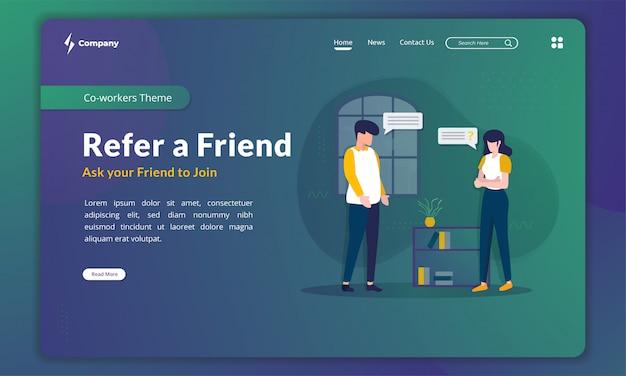 La ilustración plana refiere a un amigo, invita y persuade a un amigo en la plantilla de página de destino