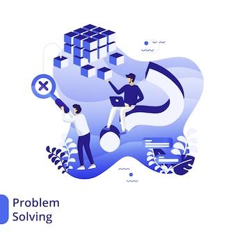 Ilustración plana de resolución de problemas, el concepto de hombres está discutiendo negocios
