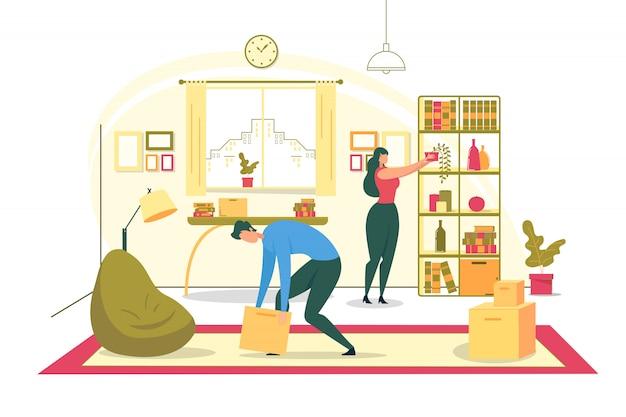 Ilustración plana de reubicación de casa