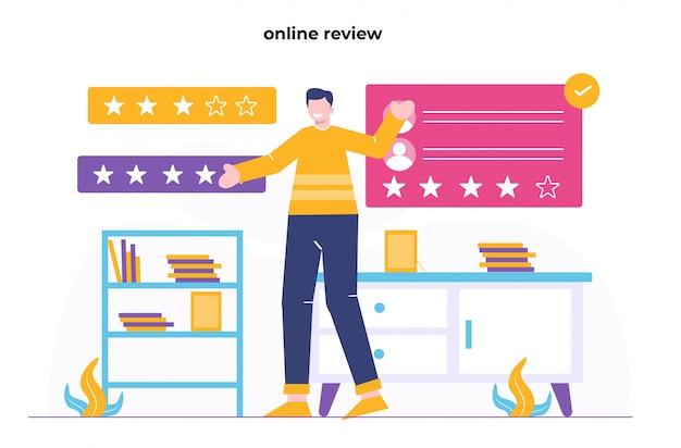 Ilustración plana de revisión en línea