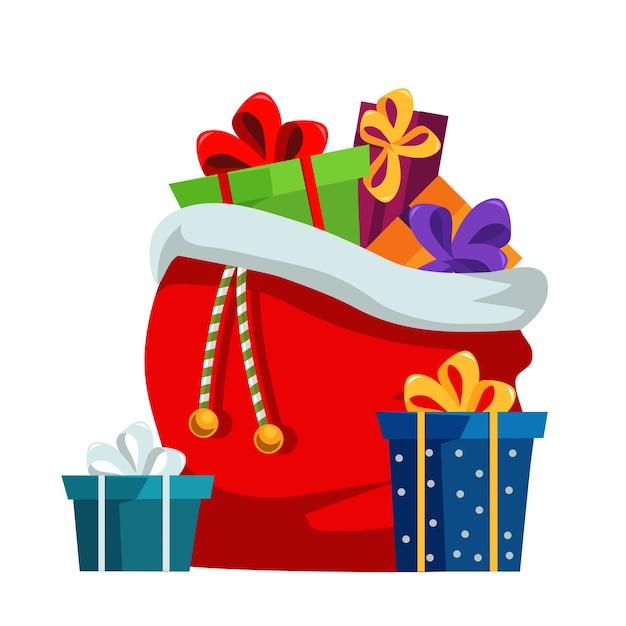 Ilustración plana de saco de regalos de navidad