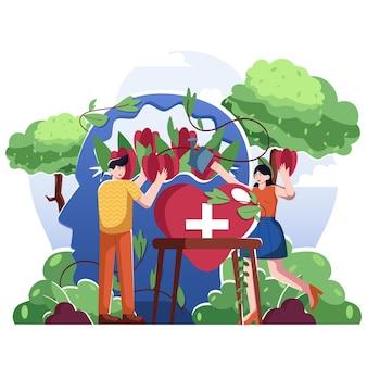 Ilustración plana de salud mental mundial