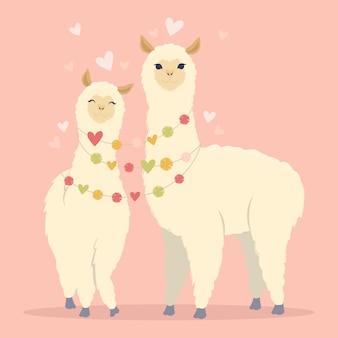 Ilustración plana de san valentín. sé mi tarjeta de llamantine con lindos corazones y llama alpaca. tarjeta de felicitación o invitación en estilo moderno.ilustración de vector