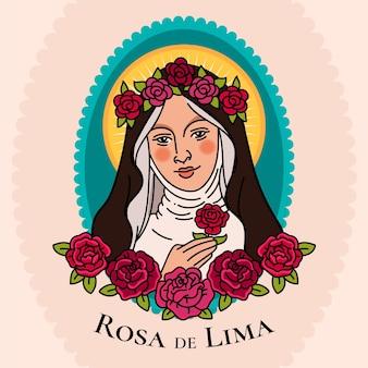 Ilustración plana santa rosa de lima