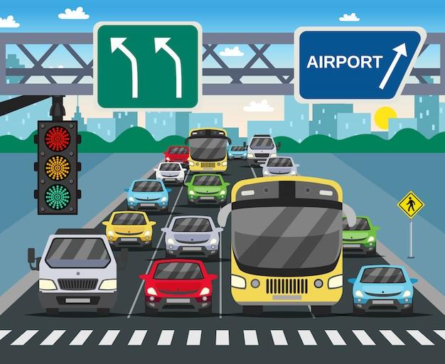 Ilustración plana de semáforo en rojo