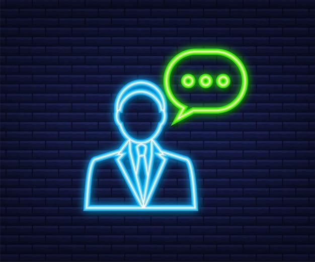 Ilustración plana con servicio al cliente. ilustración de vector 3d. servicio de atención al cliente. icono de neón.