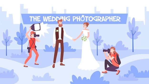 Ilustración plana de sesión de fotos de boda