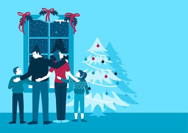 Ilustración plana simple de familia feliz frente a la ventana durante el invierno, tema navideño.