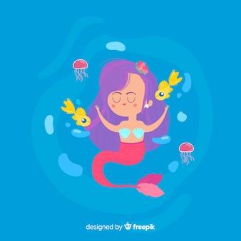 Ilustración plana de una sirena