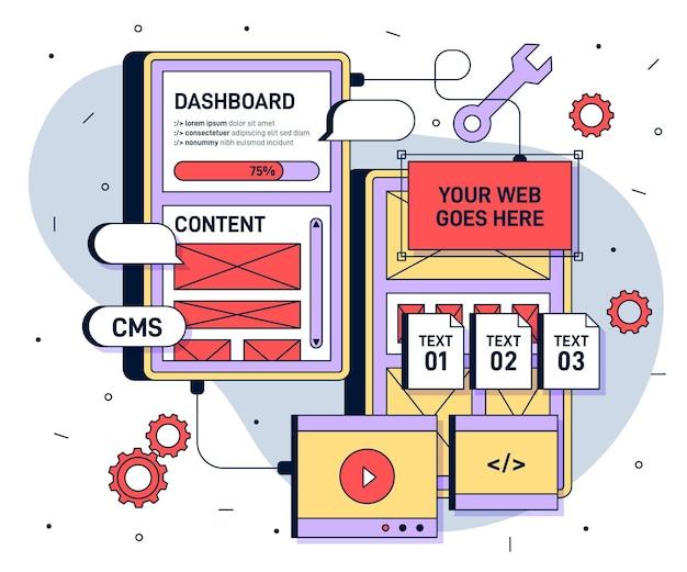 Ilustración plana del sistema de gestión de contenido.