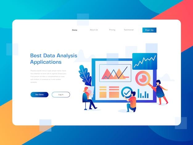Ilustración plana del sitio web de análisis de datos