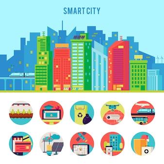 Ilustración plana smart city