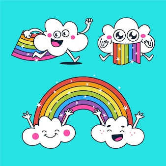 Ilustración plana de smiley rainbow pack