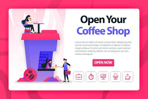 Ilustración plana sobre la apertura de la cafetería con un solo clic.