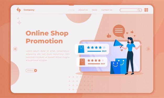 Ilustración plana sobre la promoción de la tienda en línea en la página de destino