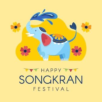 Ilustración plana de songkran