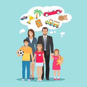 Ilustración plana de los sueños de todos los miembros de la familia padres e hijos.