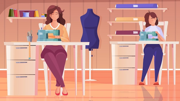 Ilustración plana de taller de sastrería con personajes femeninos de costurera que trabajan en la máquina de coser