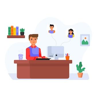 Ilustración plana de la tarea empresarial de gestión de niña del gerente de proyecto