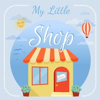 Ilustración plana de tienda con globo aerostático