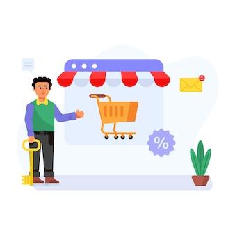 Ilustración plana de tienda de publicidad de persona de promoción de comercio electrónico