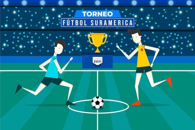 Ilustración plana del torneo de fútbol sudamericano