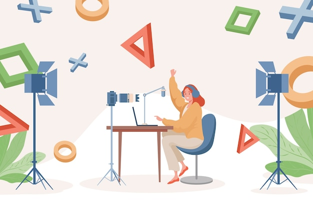 Ilustración plana de transmisión en línea. mujer jugando videojuegos en la computadora portátil y haciendo grabaciones de video.