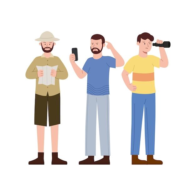Ilustración plana tres hombre buscando mapas