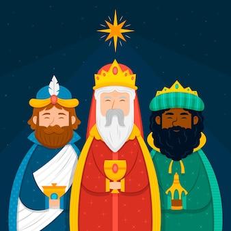 Ilustración plana de tres reyes magos