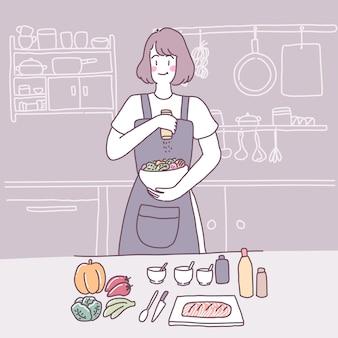 Ilustración plana de vector con una chica que cocina en la cocina
