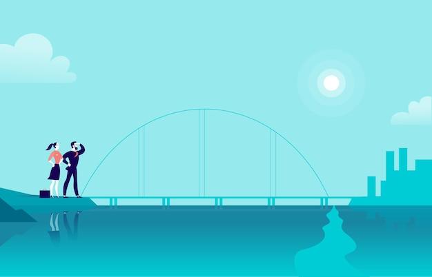 Ilustración plana de vector con gente de negocios de pie en el puente de la costa del mar mirando la ciudad al otro lado. nuevos logros, aspiraciones, trabajo en la empresa, asociación, objetivo profesional, motivación: metáfora.