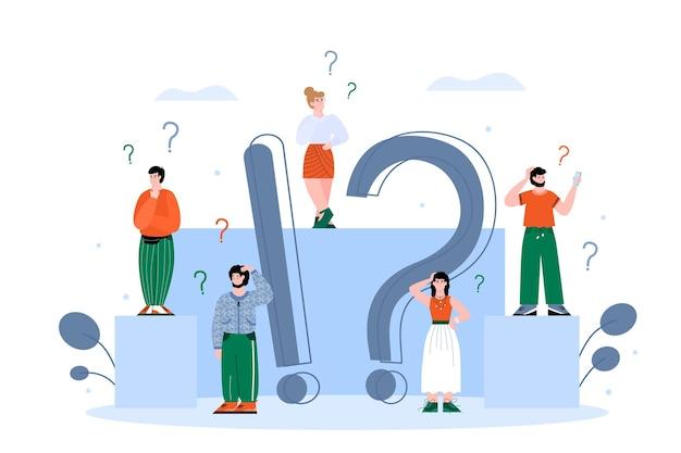 Ilustración plana de vector de personas confundidas y el concepto de preguntas frecuentes y respuestas