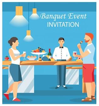 Ilustración plana del vector de la tarjeta de la invitación del banquete