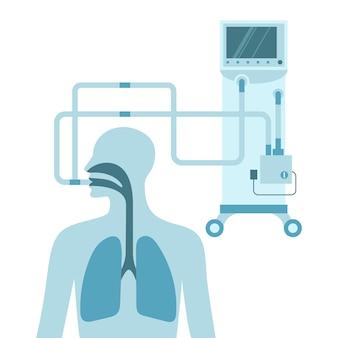 Ilustración plana de vector de ventilación mecánica pecho masculino con pulmones concepto de coronavirus