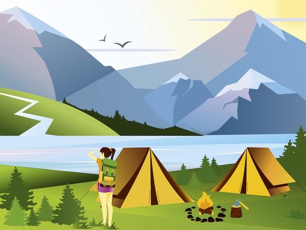 Ilustración plana viajero de niña de camping. fondo de naturaleza con hierba, bosque, montañas y colinas. actividades al aire libre. carpa y campamento de bomberos.