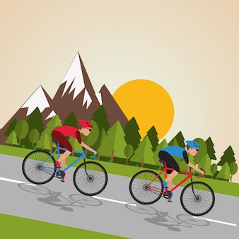 Ilustración plana de la vida útil de la bicicleta