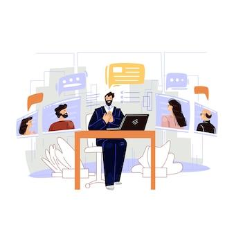 Ilustración plana de video conferencia de negocios.