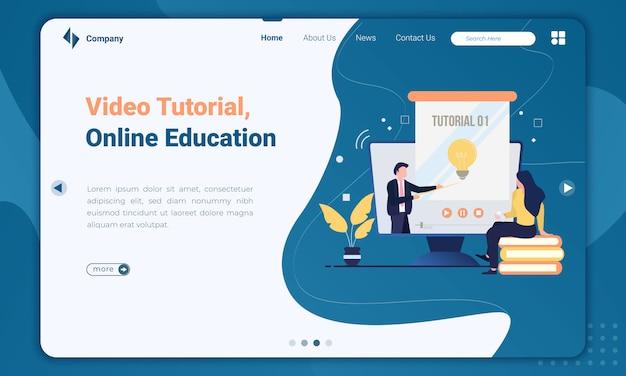 Ilustración plana de video tutorial sobre plantilla de página de destino de educación en línea